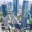 Aerial view of skyscrapers in the central business area of Shanghai, China