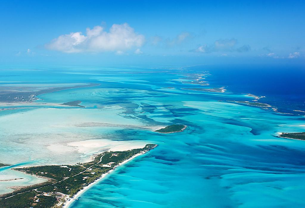Ariel View of Turquoise Waters in the Bahamas