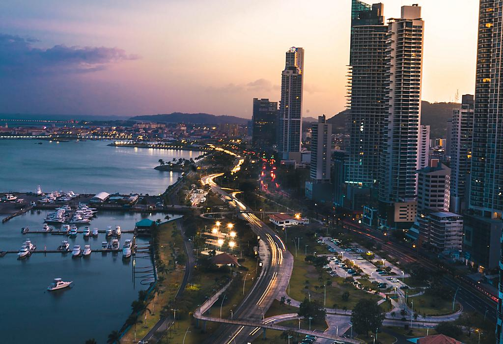 Panama City Aerial View with Buildings during Sunset