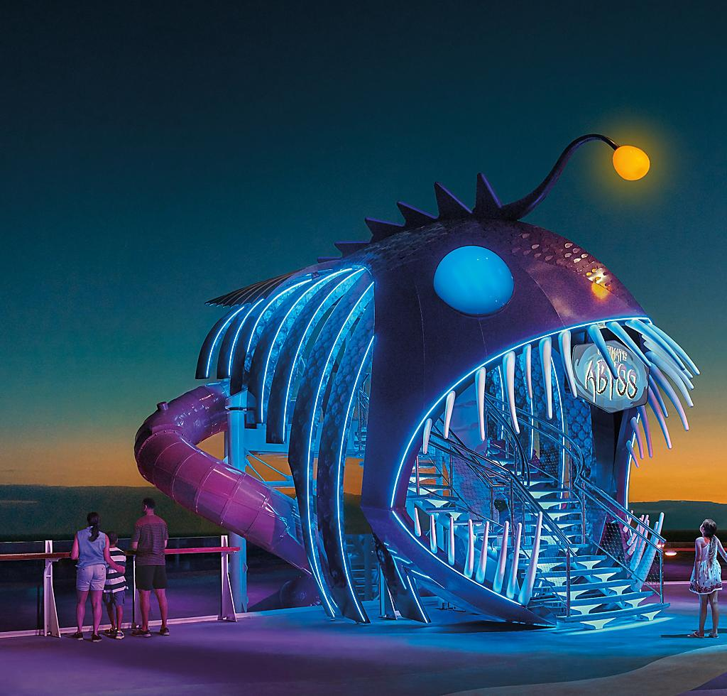 Harmony of the Seas, Ultimate Abyss, Slide, Family, Sunset Night, Activity