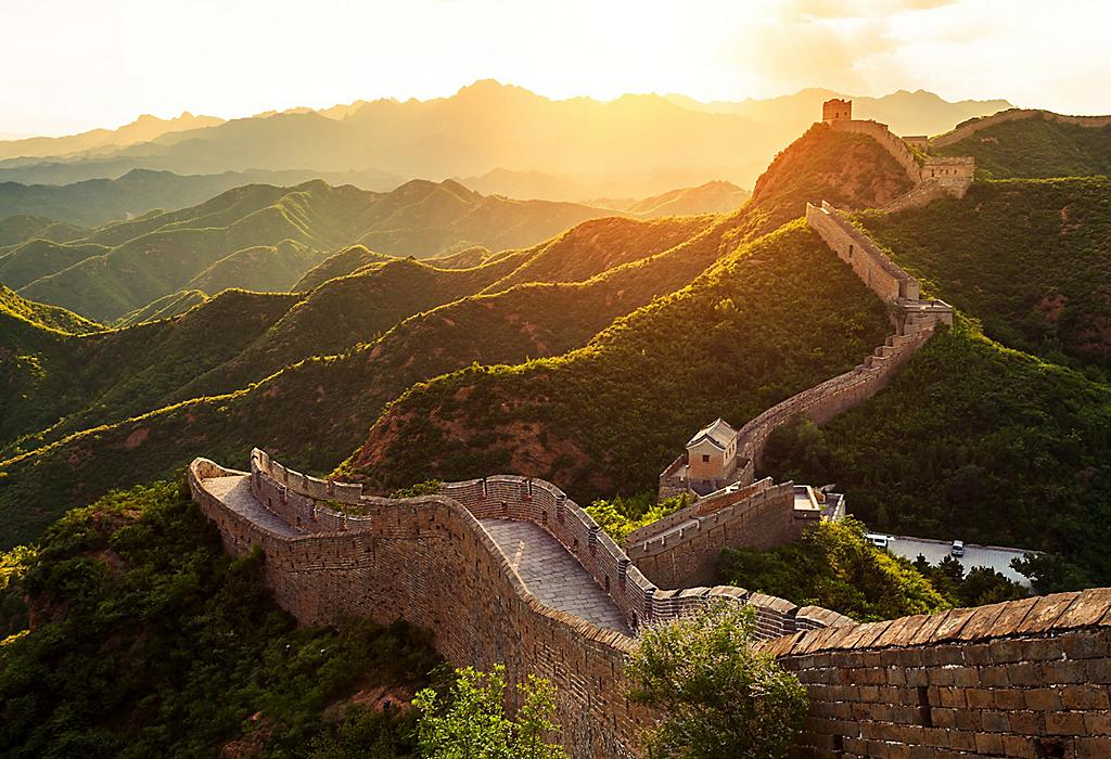 Great Wall Of China with Golden Sunset and Vibrant Green Mountains