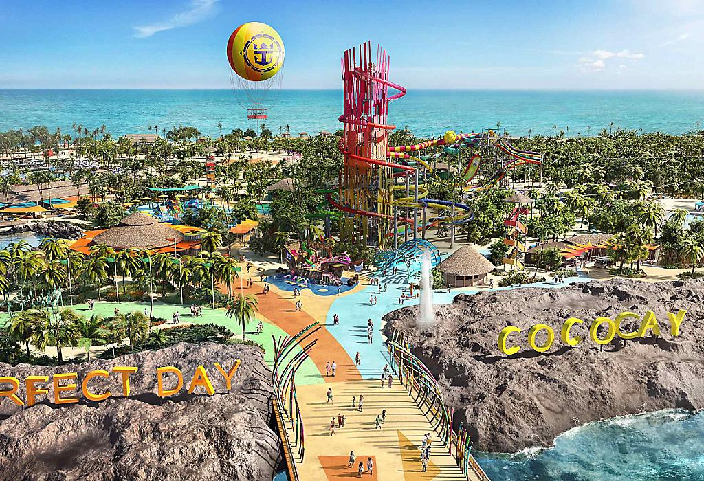 Flygbild av Perfect Day Island, CocoCay Bahamas
