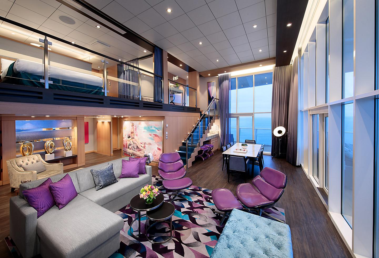 Loft Suite with Purple Furniture on Living Room