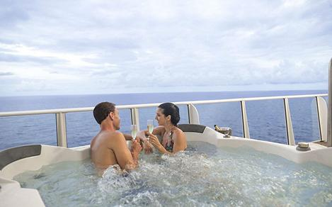 Couple Enjoying the Balcony Jacuzzi