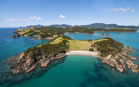 Beautiful New Zealand Islands With Green Lush Scenery