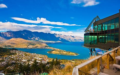 New Zealand Glass Building Over Lake