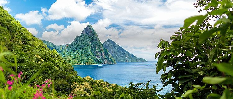 St. Lucia Mountains in the Caribbean