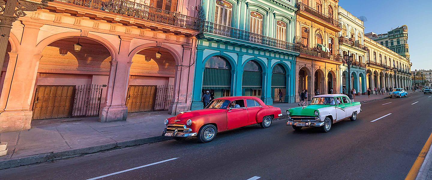 Colorful Cuba Street with Old Cars