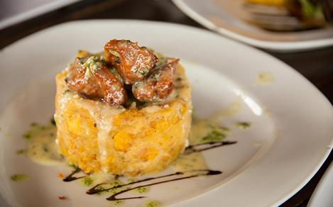 Puerto Rico Mofongo Made with Fried Green Plantains