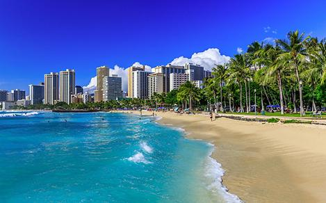 Hawaii Beach With City View