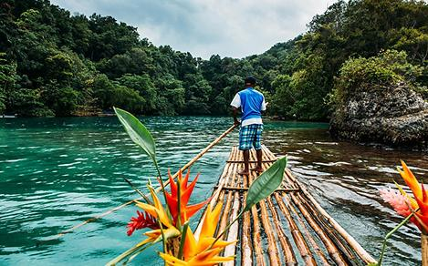 Bamboo Ride in a Blue Lagoon in Jamaica