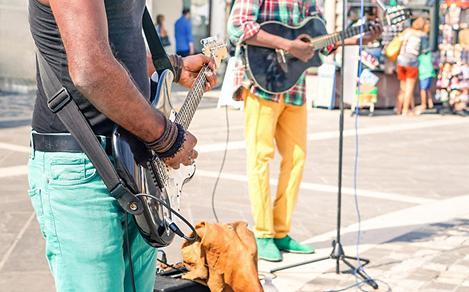 Falmouth, Jamaica, Reggae Street Musicians Guitars