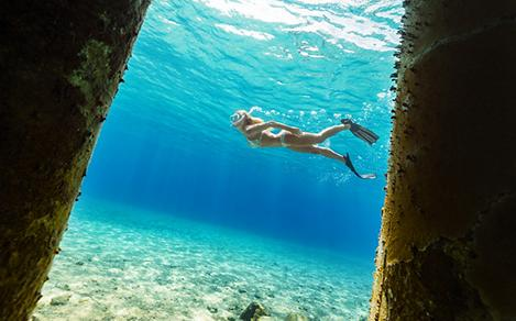 Girl Snorkeling in Cozumel, Mexico