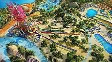 An aerial view of Thrill Waterpark at Royal Caribbean's Perfect Day at CocoCay