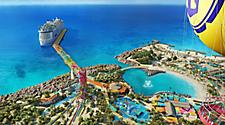 Aerial view of Perfect Day at CocoCay from hot air balloon
