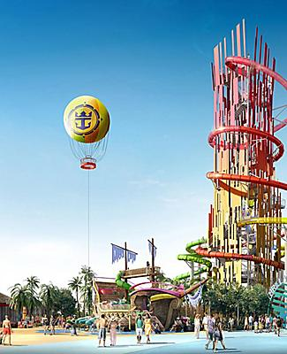 Thrill Waterpark and the Galleon Ship at Royal Caribbean's Perfect Day at CocoCay
