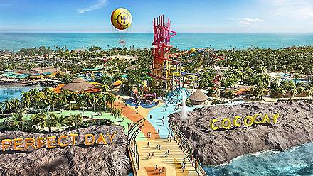 An aerial view of Royal Caribbean's Perfect Day at CocoCay
