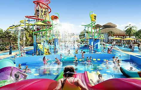 Children enjoying various water activities at Splashaway Bay at Royal Caribbean's Perfect Day at CocoCay