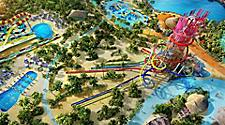 Aerial view of Thrill Waterpark at Perfect Day at Cococay