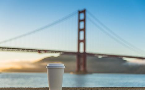 San Francisco, California Golden Gate Bridge and Coffee Cup
