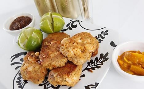 Caribbean Conch Crab and Shrimp Patties with Mango Chutney