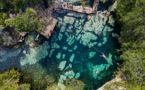Aerial View of Azul Cenote in Mexico