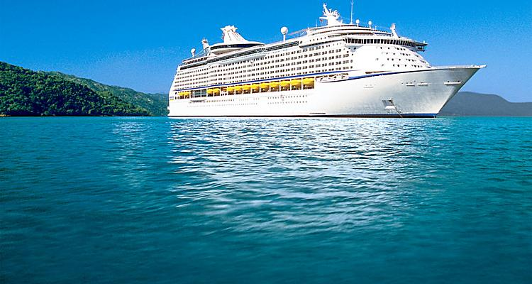 Aerial,  ship,  Adventure of the Seas?,  Voyager class,  boat,  exterior, Labadee?, island, water, ocean, blue water, AD