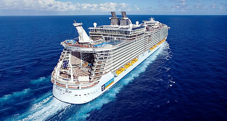 Aerial View of Allure of the Seas With Caribbean Destinations in Honduras, Mexico, Puerto Rico, and Jamaica