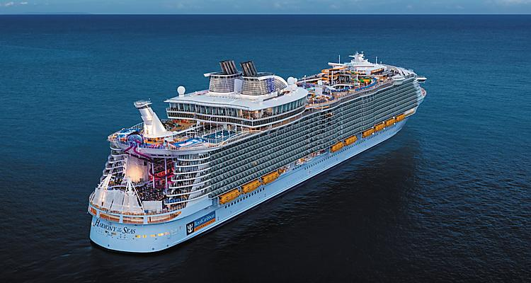 Aerial View of Harmony of the Seas Cruise Ship Visiting Bahamas and Caribbean Destinations