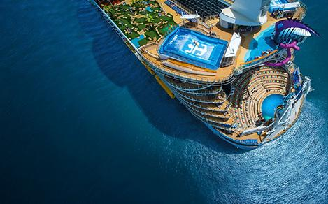 An aerial view of the aft of Harmony of the Seas