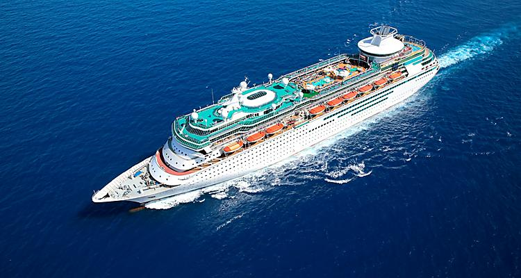 Aerial View of Majesty of the Seas Cruise Ship with destinations in the Bahamas and Caribbean