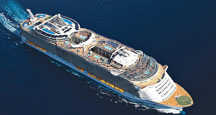 Aerial View of Oasis of the Seas Cruise Ship Visiting Caribbean and Mediterranean Destinations