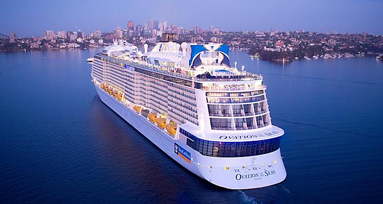 OV, Ovation of the Seas, Sydney, Australia, sunrise, arrival, aerial, drone, aft, 9 January 2017