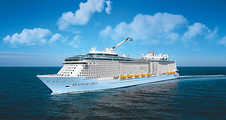 Side View of Quantum of the Seas Cruise Ship Visiting Destinations in China and Japan