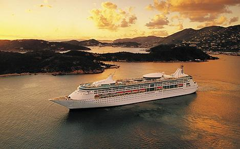 Aerial View of Rhapsody of the Seas Cruise Ship Visiting Destinations in the Canary Islands, Greece, and Croatia