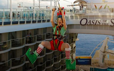 Christmas Elf on a Zipline on the Oasis of the Seas
