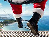View of Santa boots just about to go on a zipline shore excursion