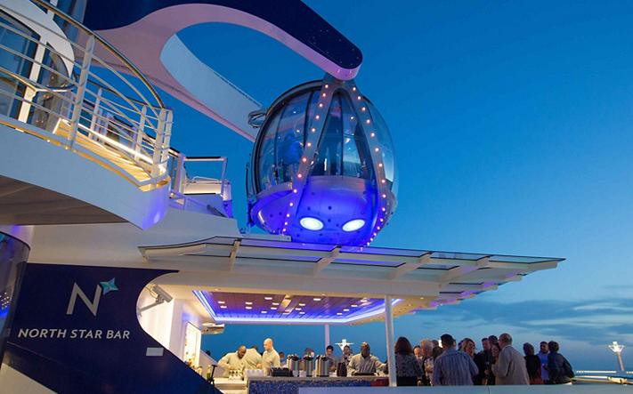 North Star Bar onboard a cruise with 360º views from 300 feet above sea level.