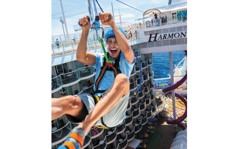 First ever zip lining onboard a cruise ship