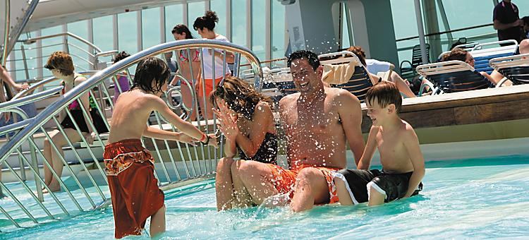on board or onboard,  splash deck,  en or enchantment of the seas,  pool deck,  fountain, vision class, family, kids, youth activities, pool, swim, water, onboard activities
