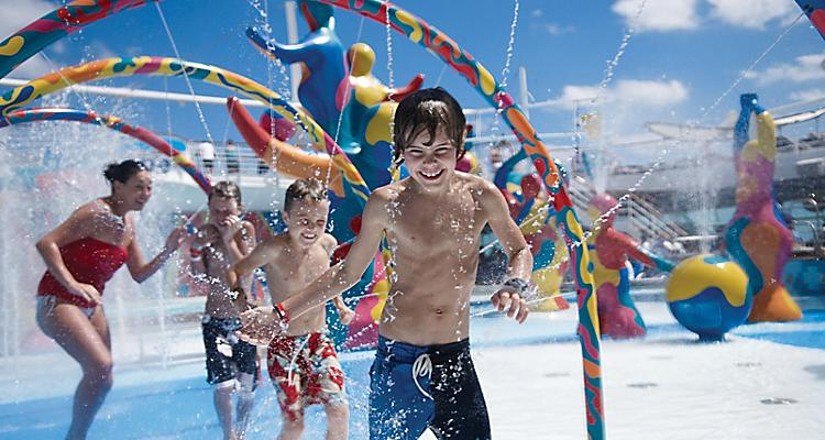 Kids playing in the H2O zone, onboard or on board activity, pool, children