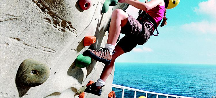 Rock Wall, Rock Climbing Wall, Girl, climbing the rock wall, parents watching, Family, Activities onboard, Sky, GR, Grandeur, Grandeur of the Seas?,
