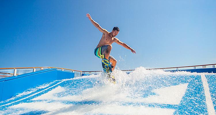 Surf's always up at two FlowRider® surf simulators.