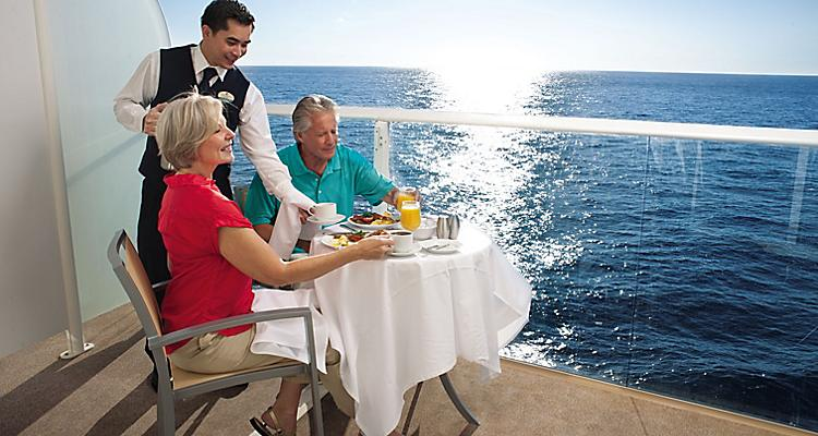 Couple on a Cruise Balcony Enjoying Room Service