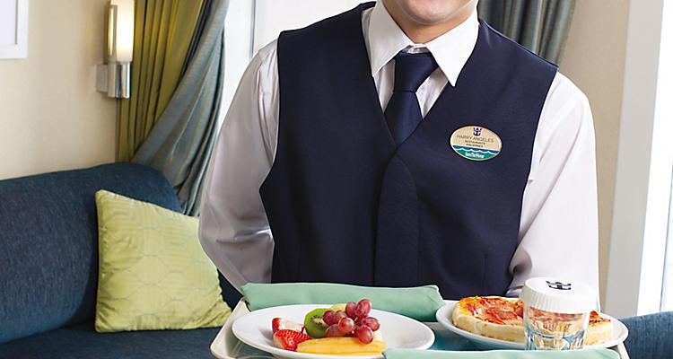 Waiter Smiling with Food Tray 24 Hour Cruise Room Service
