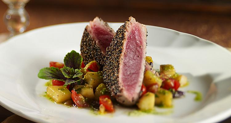 Cuisine, culinary, Giovanni''s Table, Pepper crusted tuna filet, potato olive ragout, seafood, Italian style, olives, mushrooms, peppers