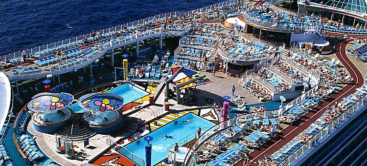 onboard or on board, Mariner of the Seas, MA,   solarium,  people enjoying pool,  voyager class
