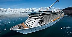 Ovation of the Seas in Alaska Aerial View