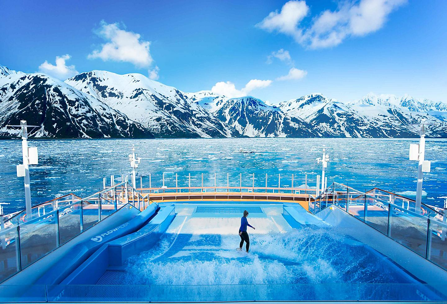 Stunning Glaciar Views from FlowRider on Ovation of the Seas Cruise Ship