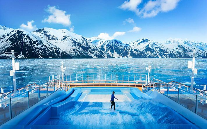 Flowrider Onboard the Ovation of the Seas with Alaska Glacier View